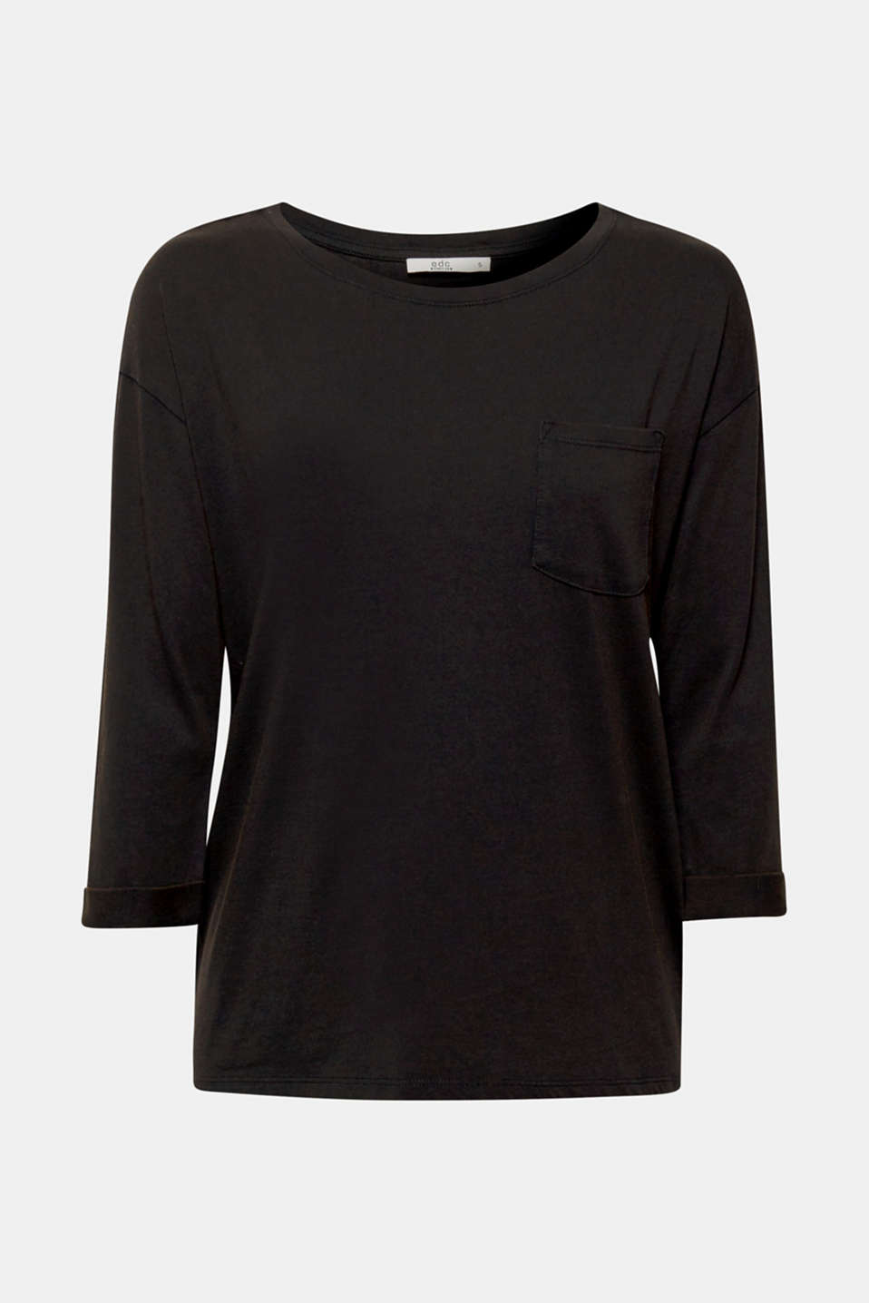 Top in a garment-washed look, 100% cotton, BLACK, detail image number 7