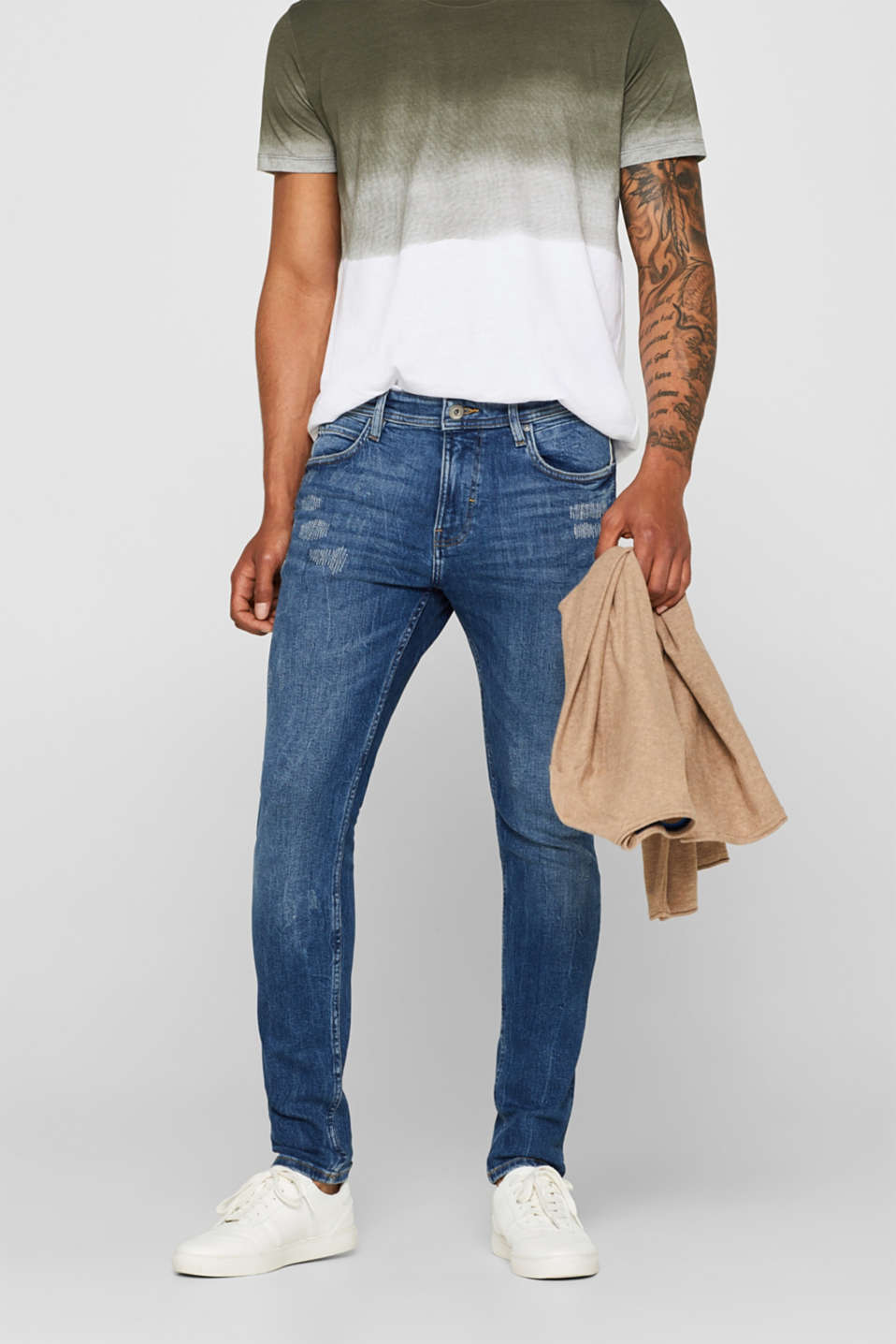 edc - Stretch-Jeans mit Destroyed-Look