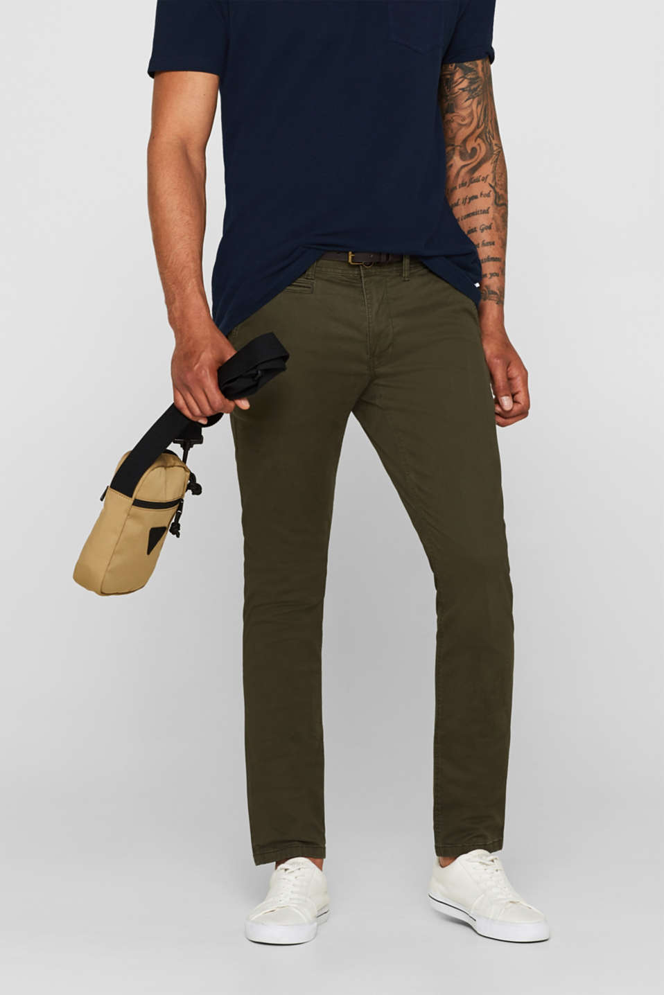 Trousers with a belt, stretch cotton, DARK KHAKI, detail image number 0