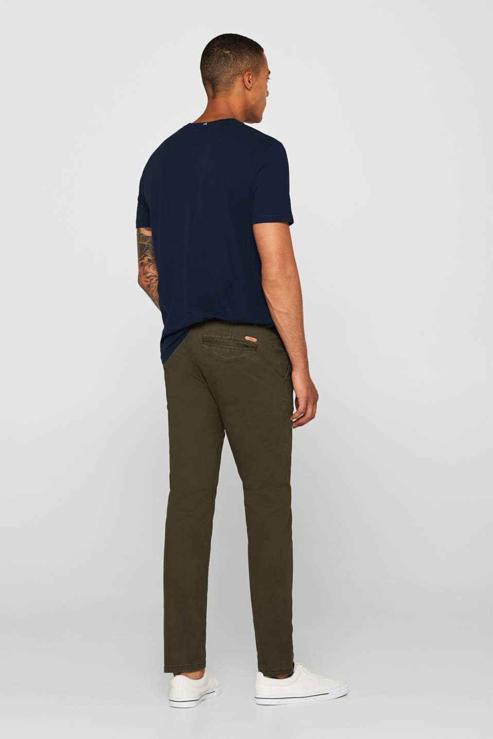 Trousers with a belt, stretch cotton, DARK KHAKI, detail image number 3