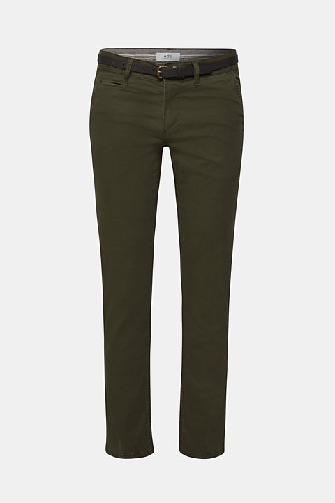 Trousers with a belt, stretch cotton