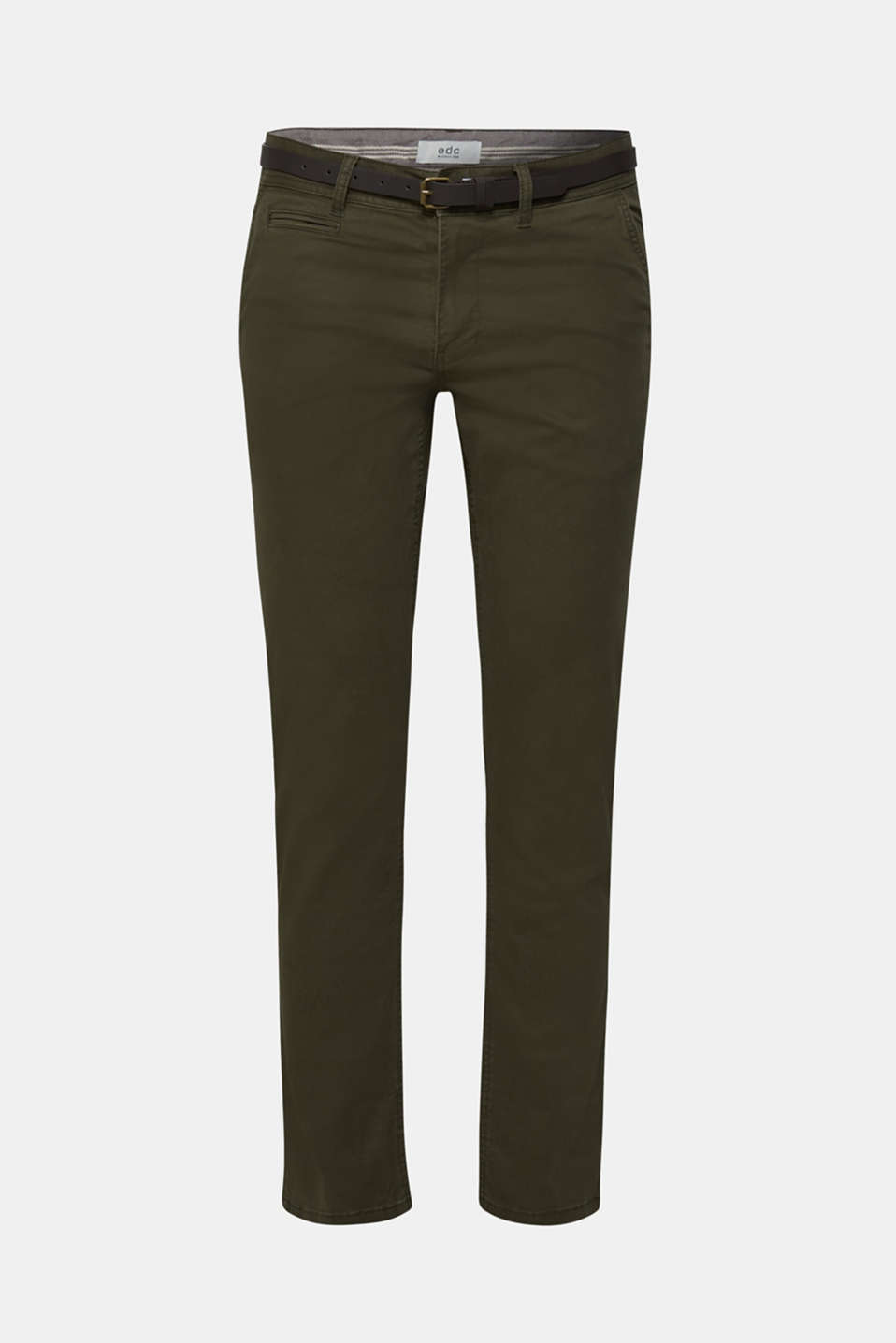 Trousers with a belt, stretch cotton, DARK KHAKI, detail image number 5