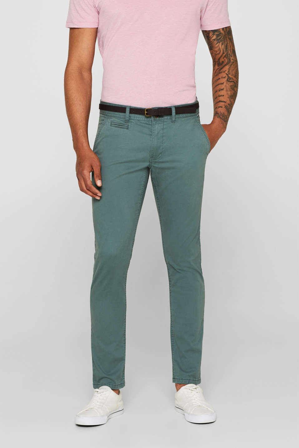 edc - Trousers with a belt, stretch cotton