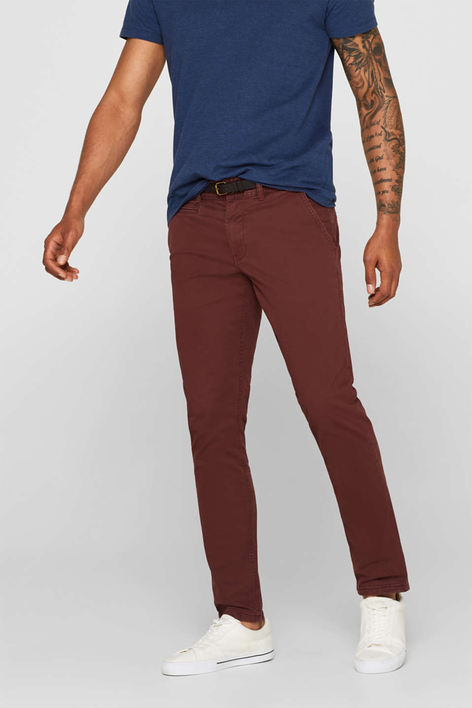 Trousers with a belt, stretch cotton, BORDEAUX RED, detail image number 0