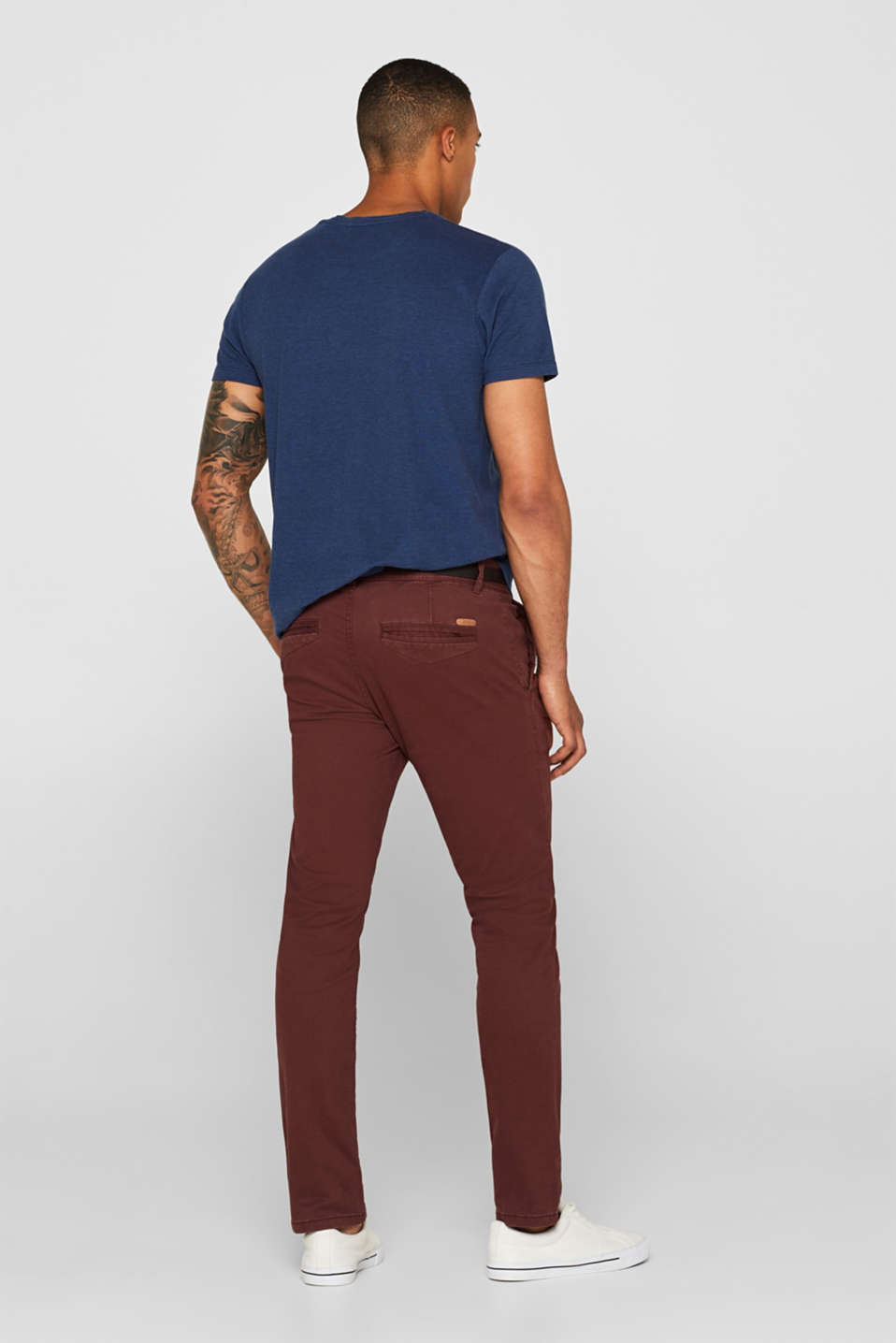 Trousers with a belt, stretch cotton, BORDEAUX RED, detail image number 3