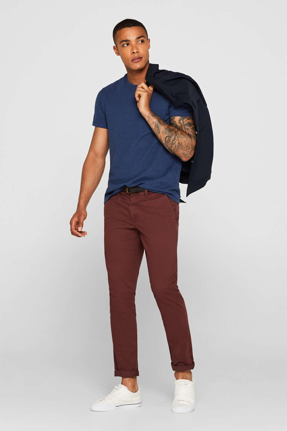 Trousers with a belt, stretch cotton, BORDEAUX RED, detail image number 1