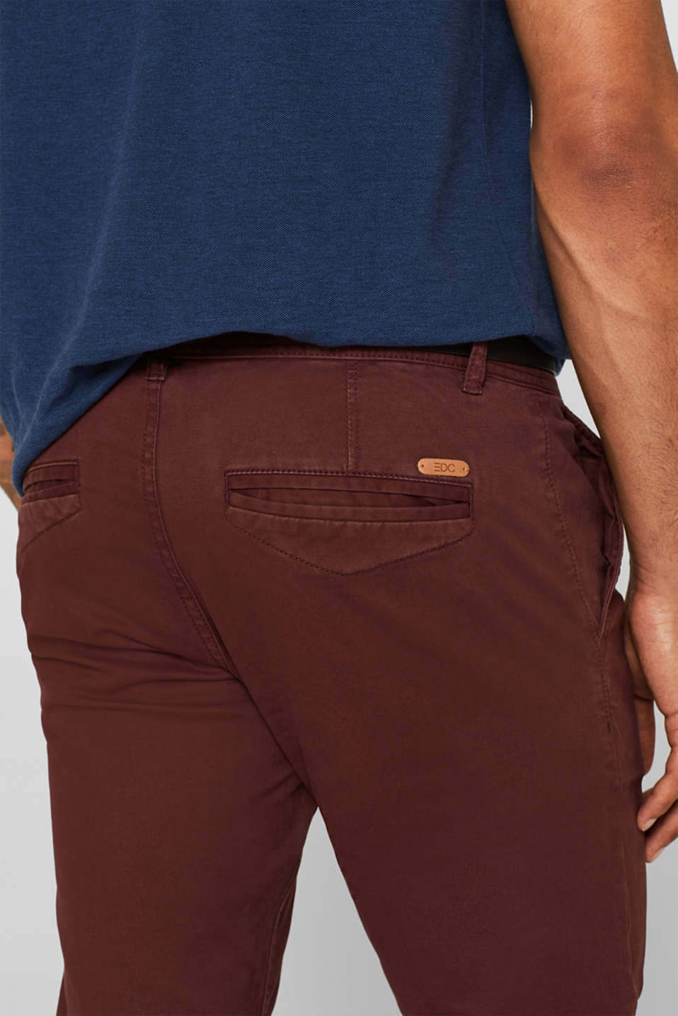 Trousers with a belt, stretch cotton, BORDEAUX RED, detail image number 2