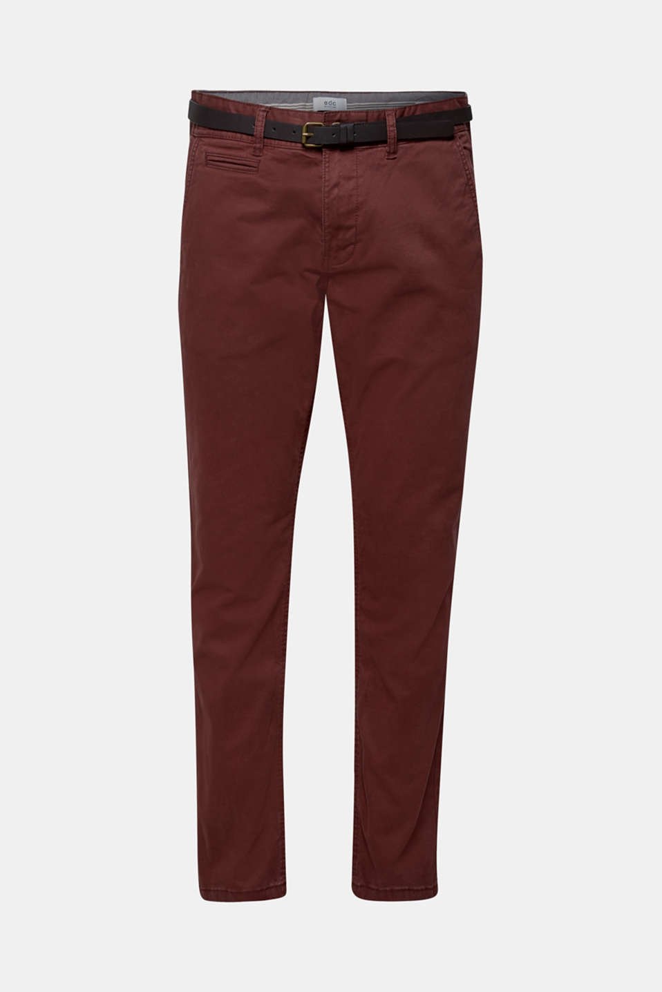 Trousers with a belt, stretch cotton, BORDEAUX RED, detail image number 5
