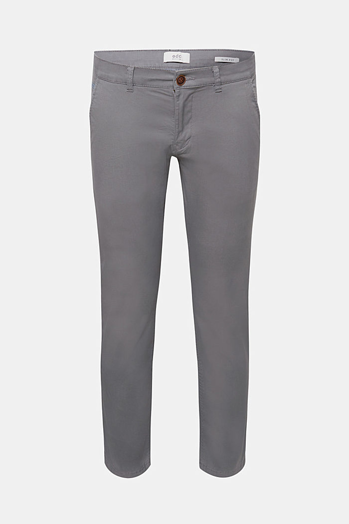 Stretch cotton chinos, DARK GREY, detail image number 0