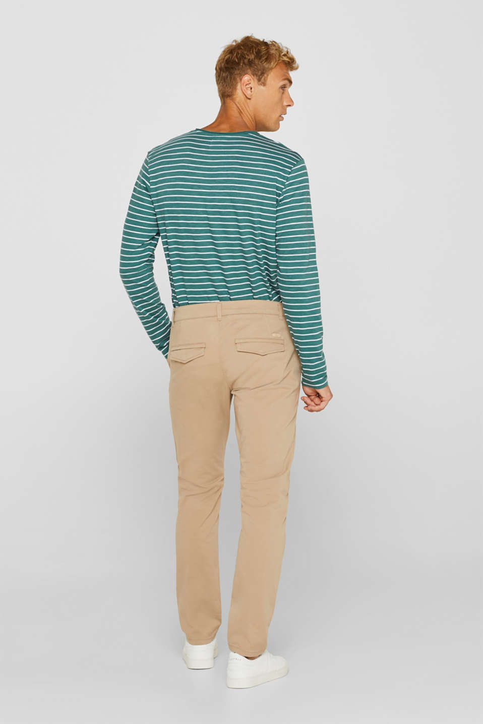 Stretch cotton chinos, BEIGE, detail image number 3