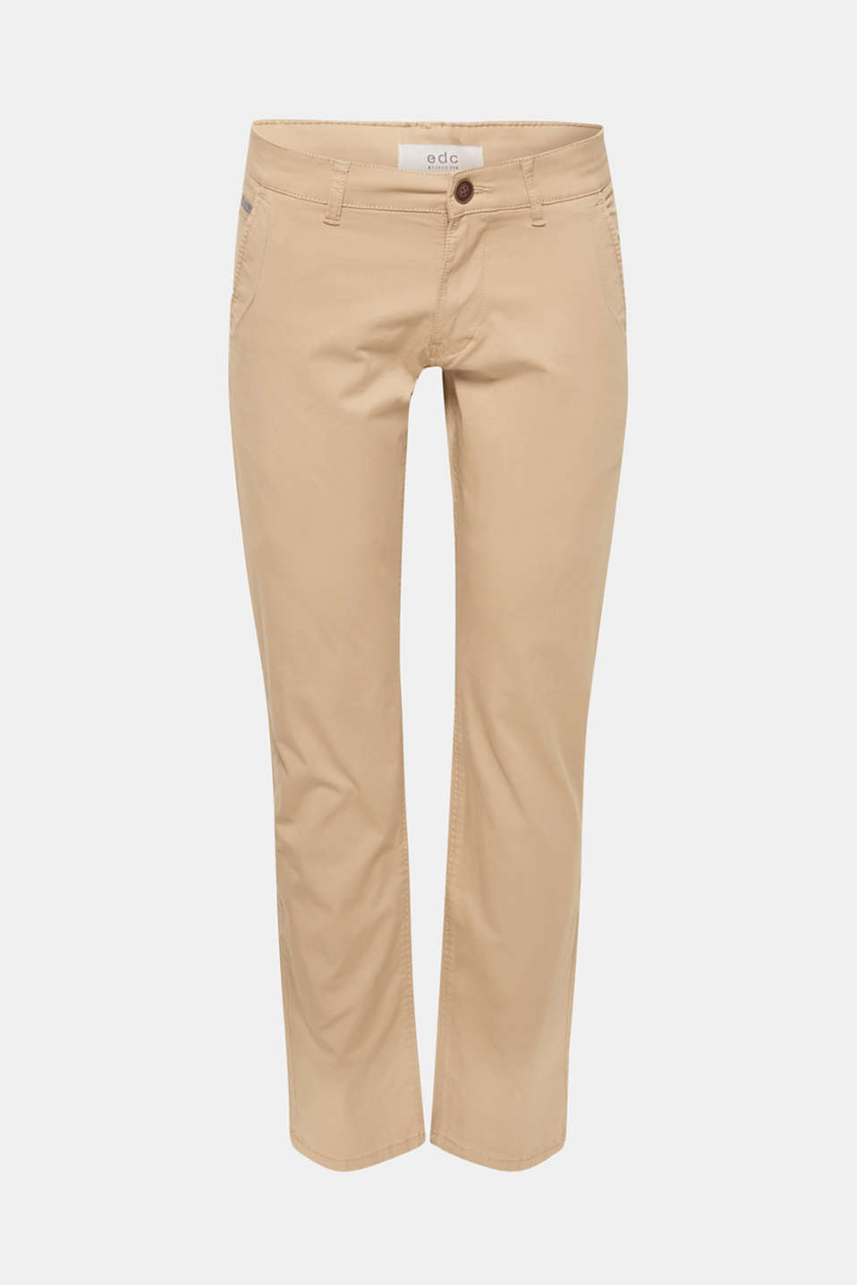 Stretch cotton chinos, BEIGE, detail image number 5