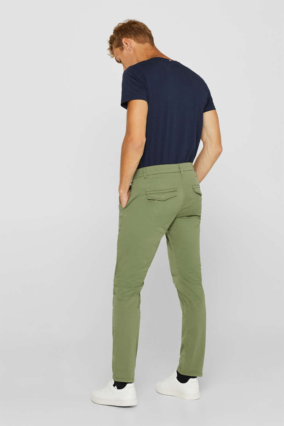 Stretch cotton chinos, OLIVE, detail image number 3