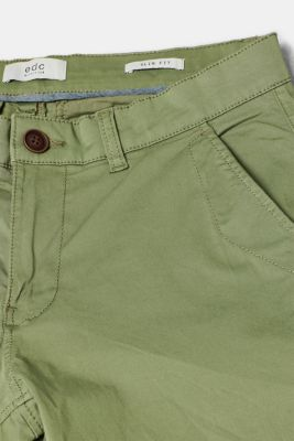 Stretch cotton chinos, OLIVE, detail