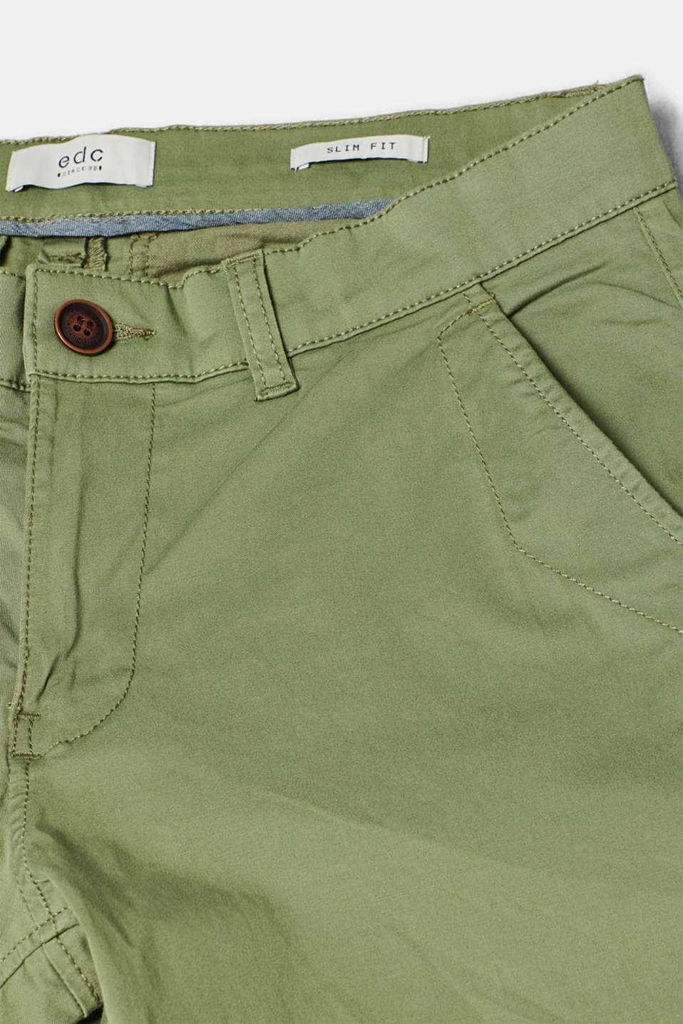 Stretch cotton chinos, OLIVE, detail image number 4