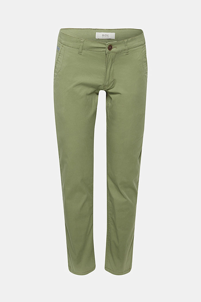 Stretch cotton chinos, OLIVE, detail image number 0