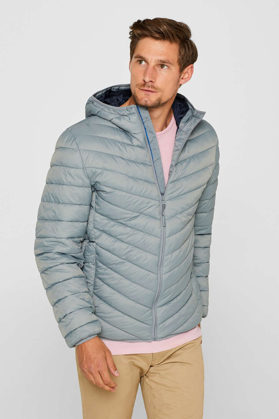 Quilted Jacket with Textured Hood