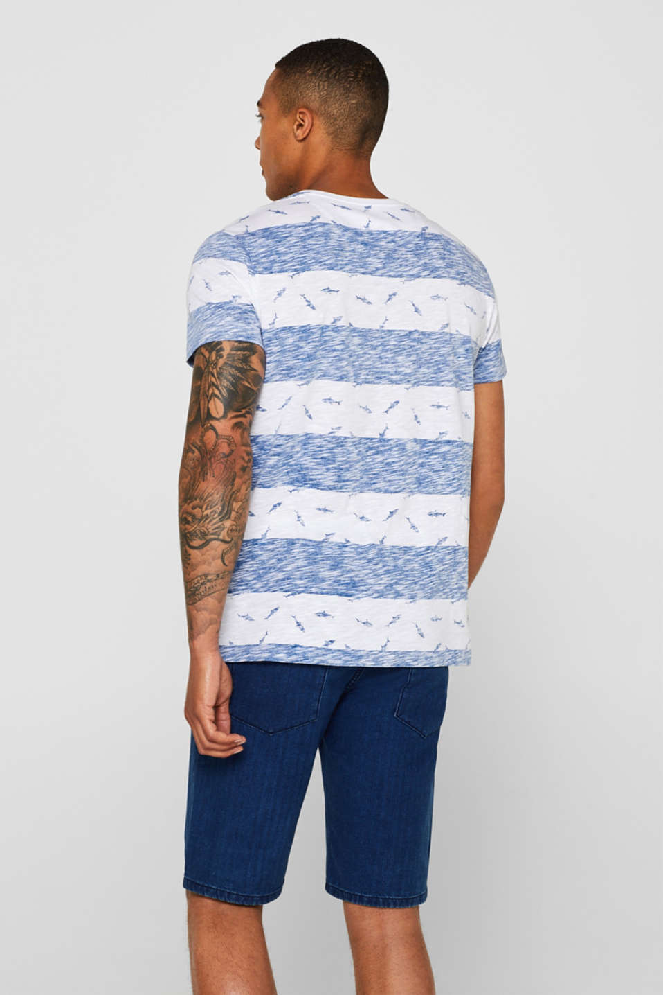 Slub jersey shirt with a shark print, BLUE, detail image number 3