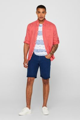 Slub jersey shirt with a shark print, BLUE, detail