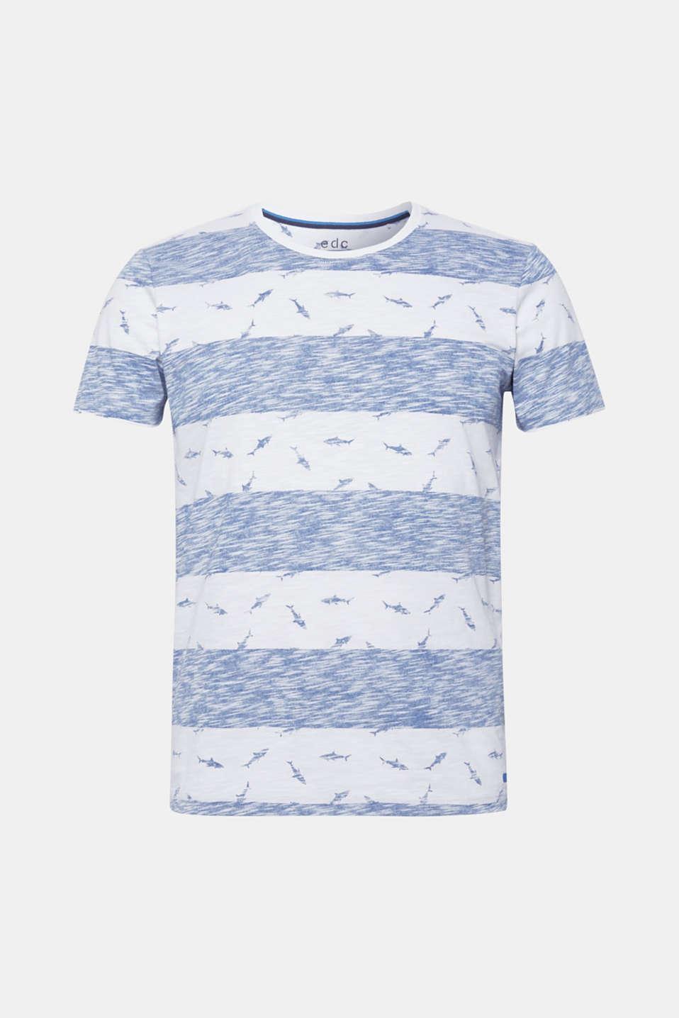 Slub jersey shirt with a shark print, BLUE, detail image number 6
