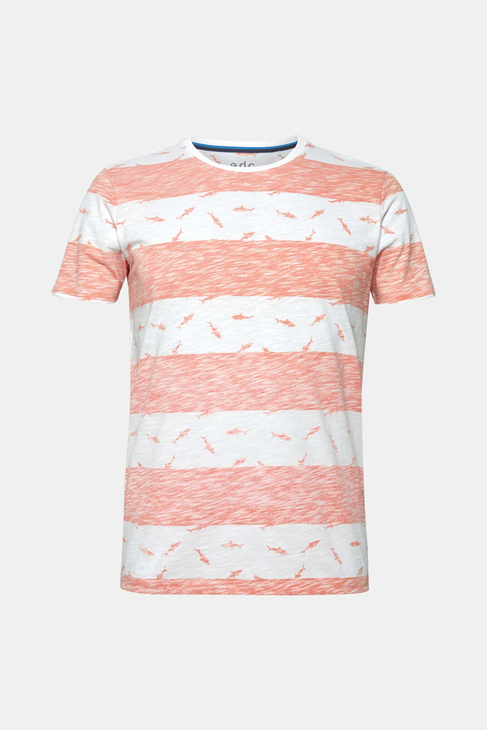 Slub jersey shirt with a shark print, CORAL ORANGE, detail image number 5