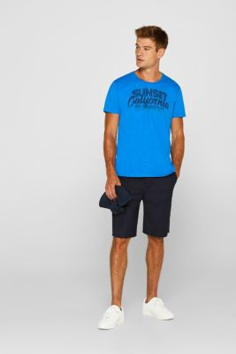 T-shirt with a surfer print, in melange jersey, BLUE, detail