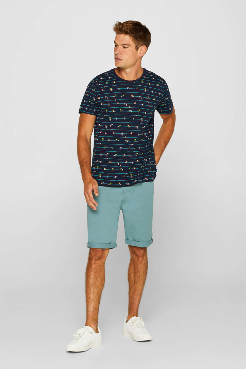 Jersey top with a summer print, 100% cotton, NAVY, detail image number 2