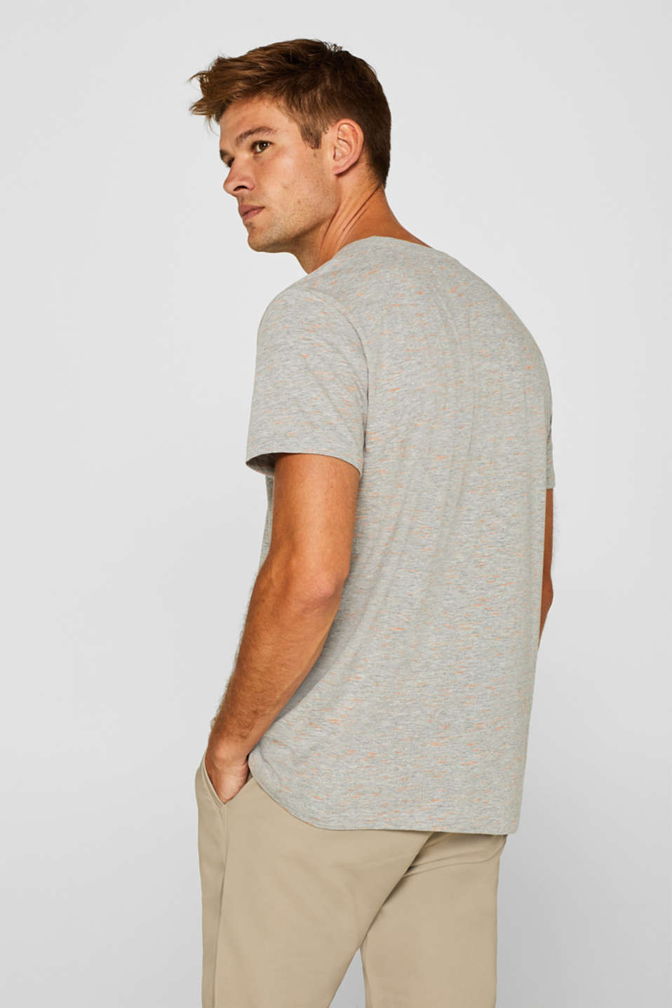 T-shirt with a surfer print, in melange jersey, MEDIUM GREY, detail image number 3