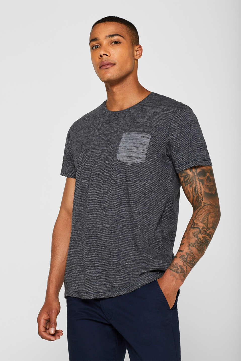 edc - Striped jersey T-shirt with breast pocket