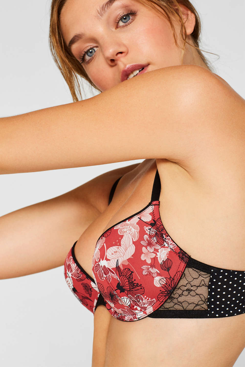 Push-up bra with a mix of materials and patterns, CORAL RED, detail image number 2