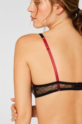 Padded underwire bra with a mix of patterns and materials, CORAL RED, detail