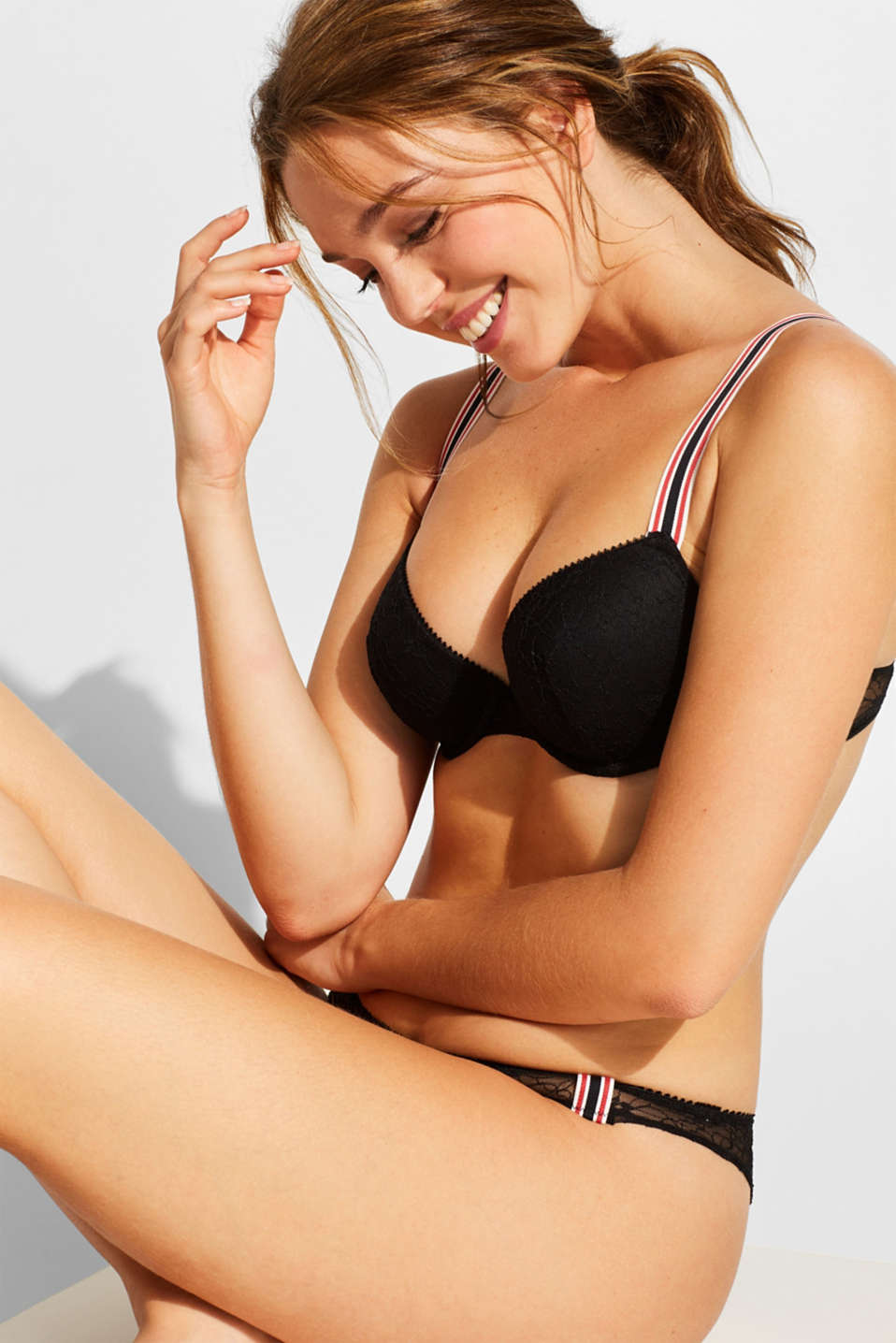 edc - Padded underwire bra with racing stripes