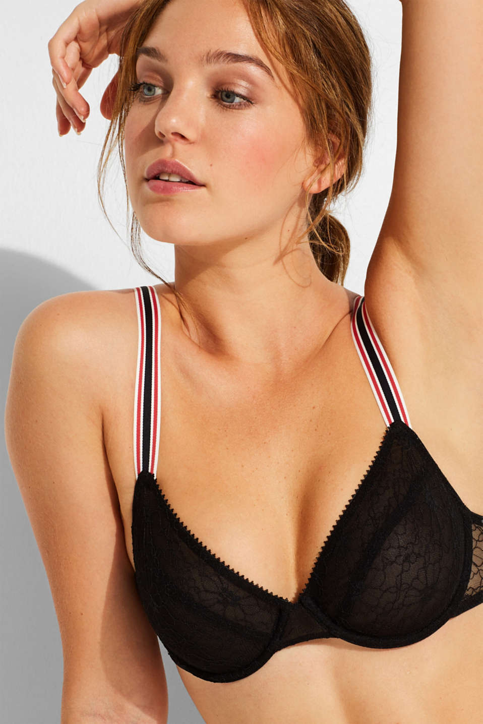 Unpadded underwire bra with racing stripes, BLACK, detail image number 0