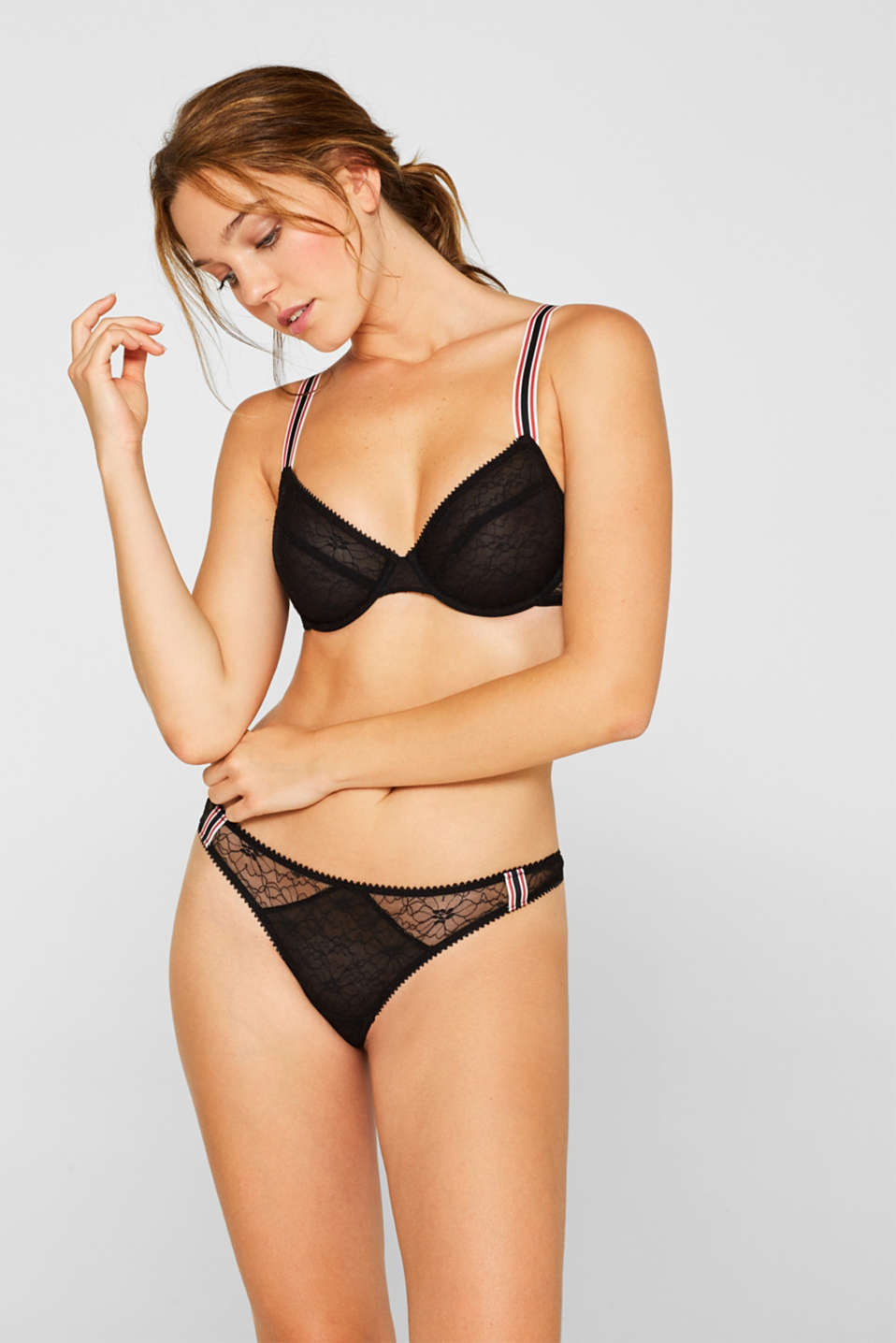 Unpadded underwire bra with racing stripes, BLACK, detail image number 2