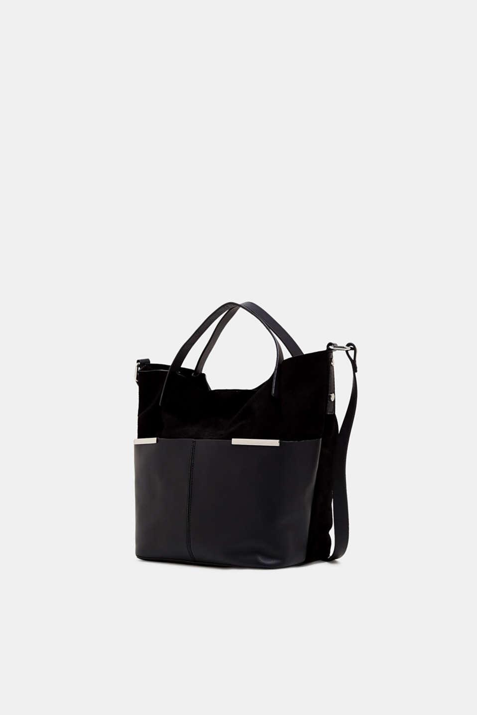 Mixed leather shoulder bag, BLACK, detail image number 2