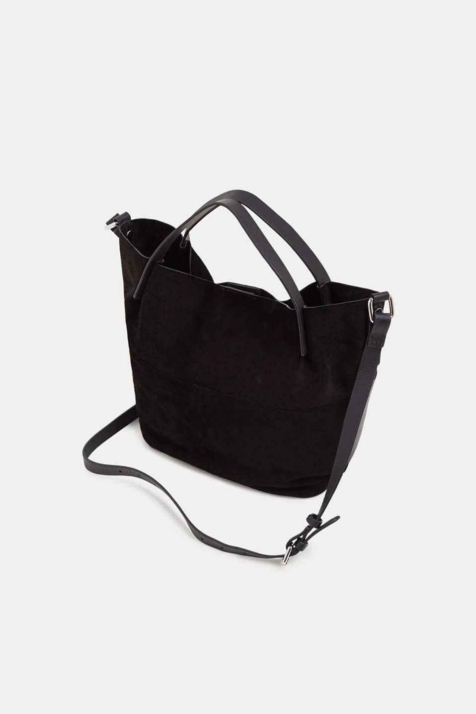 Mixed leather shoulder bag, BLACK, detail image number 5