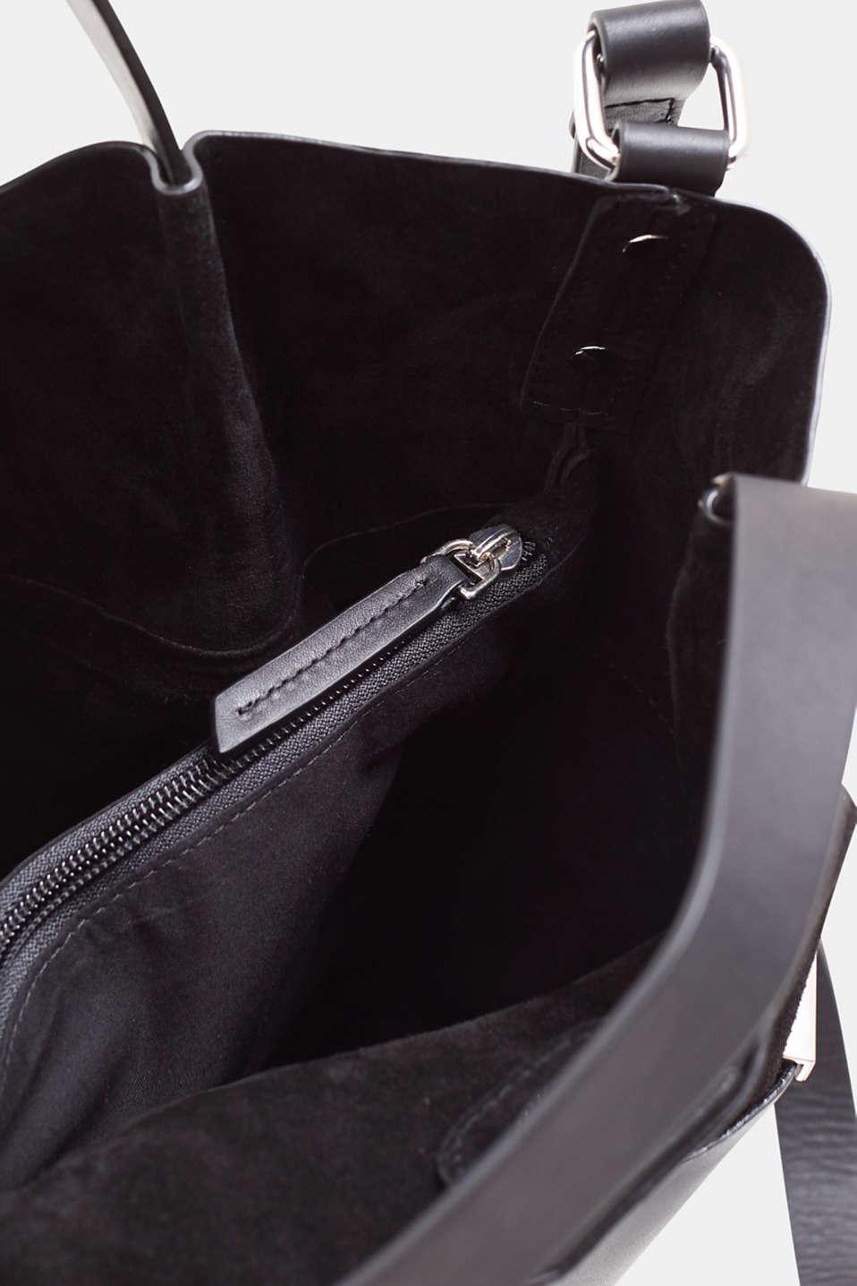 Mixed leather shoulder bag, BLACK, detail image number 4