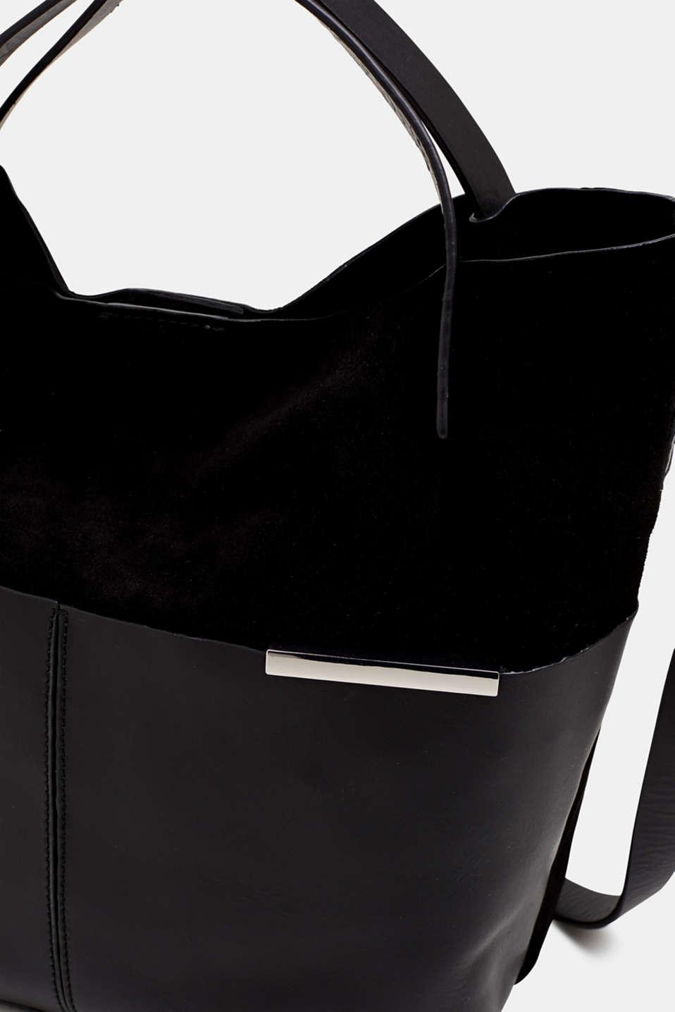 Mixed leather shoulder bag, BLACK, detail image number 3