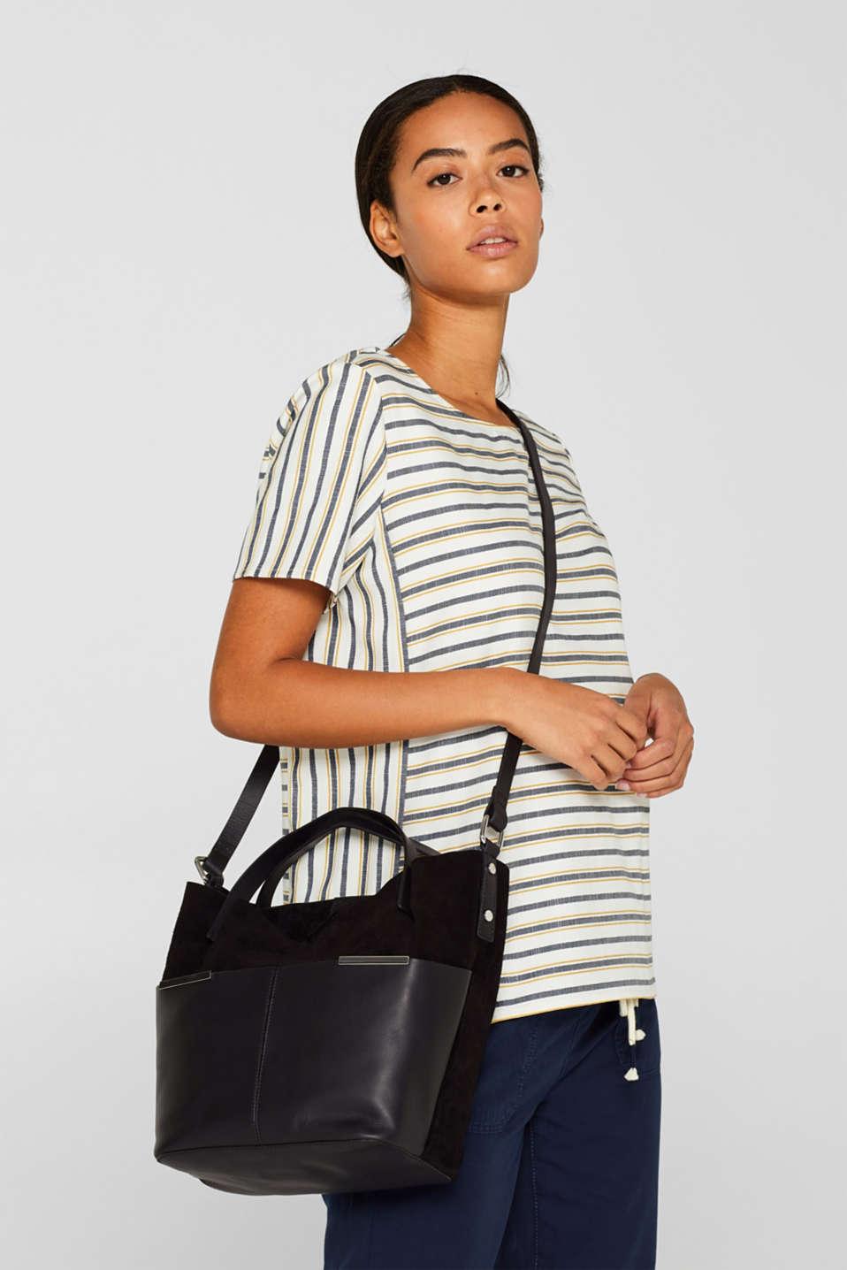 Mixed leather shoulder bag, BLACK, detail image number 1