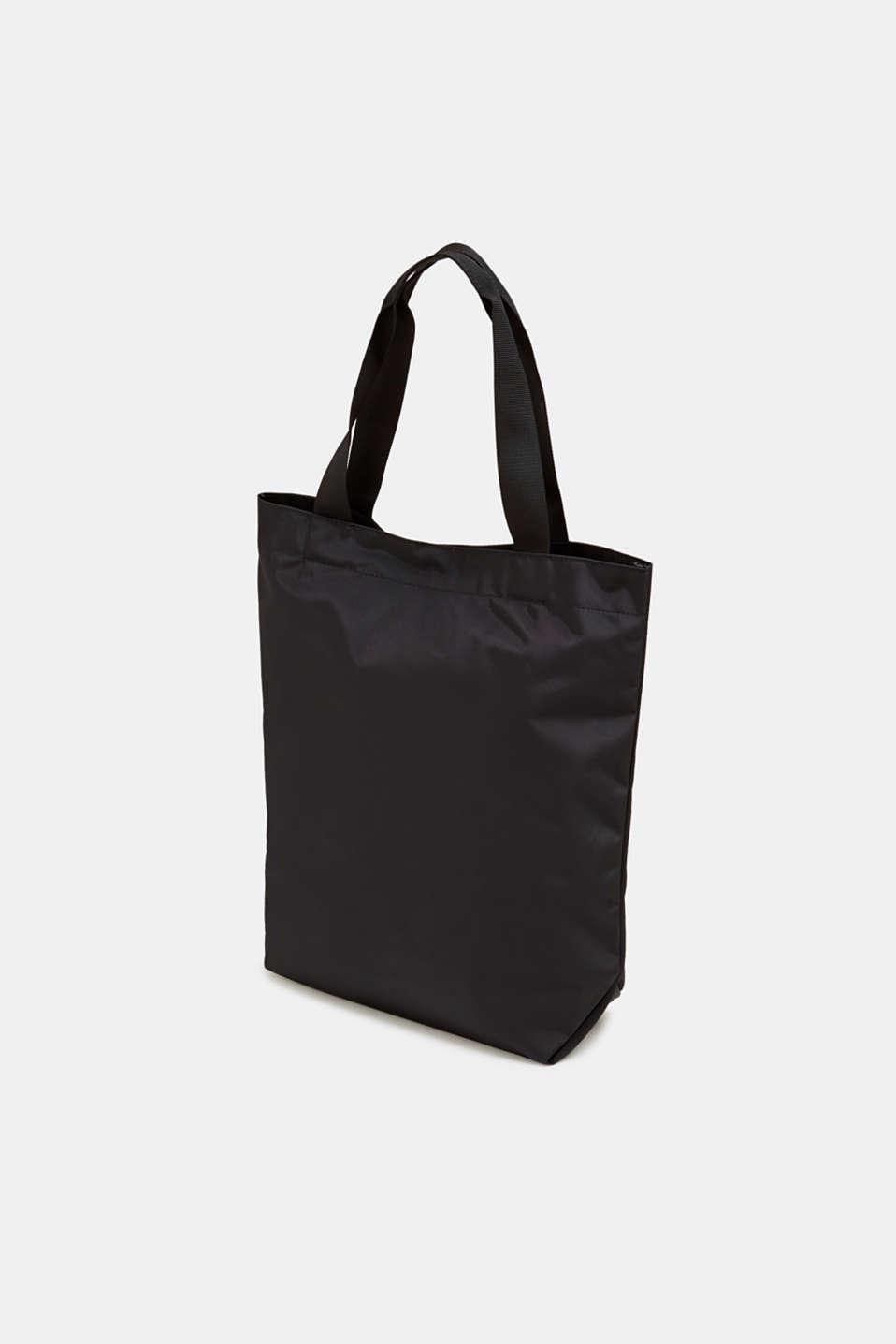 Nylon shopper with a logo print, BLACK, detail image number 5