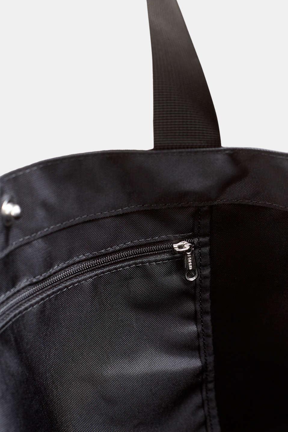 Nylon shopper with a logo print, BLACK, detail image number 4