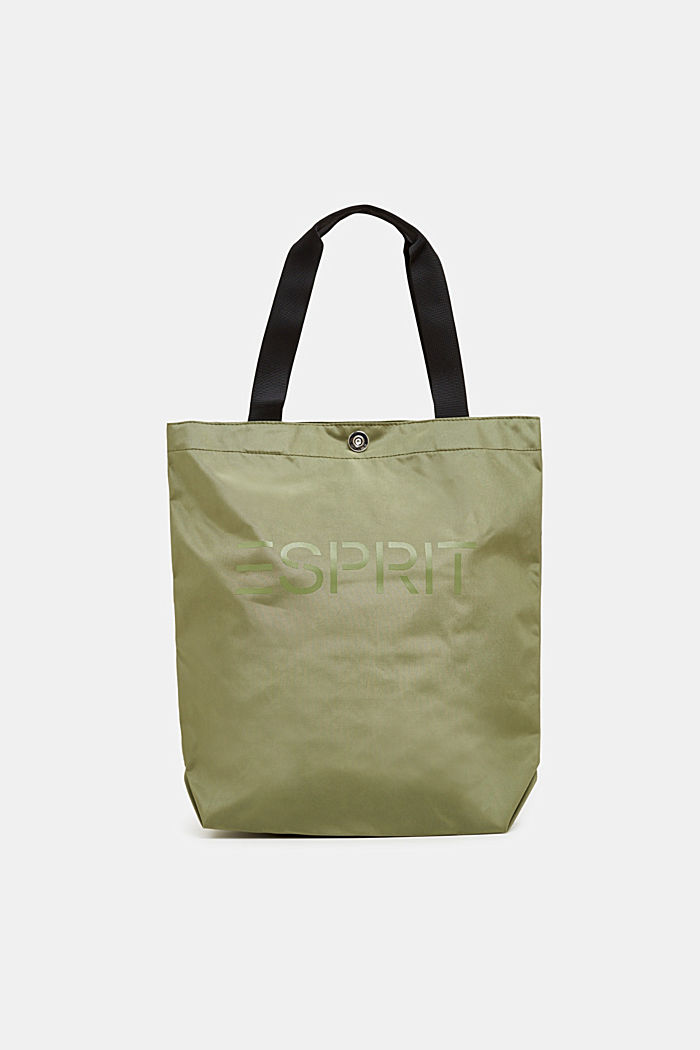 Nylon shopper with a logo print, KHAKI BEIGE, detail image number 0