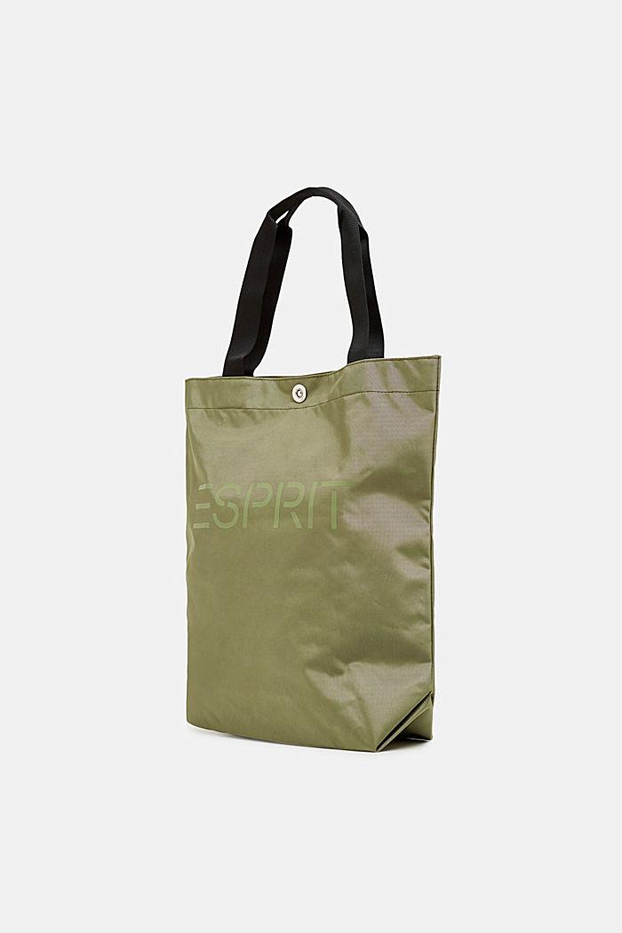 Nylon shopper with a logo print, KHAKI BEIGE, detail image number 1