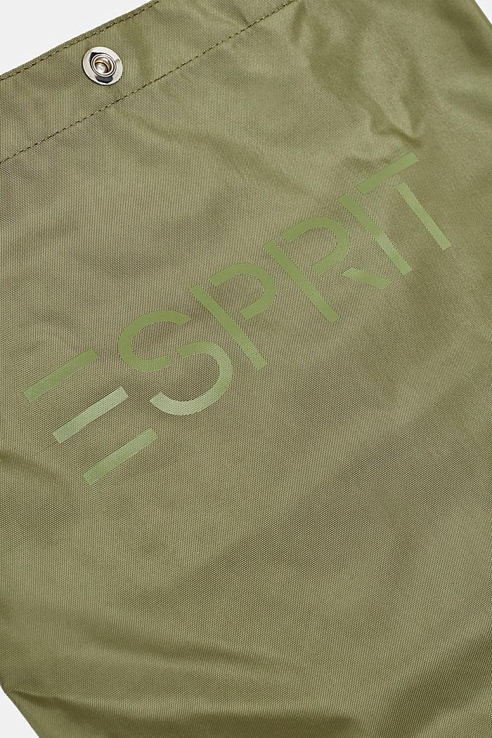 Nylon shopper with a logo print, KHAKI BEIGE, detail image number 2
