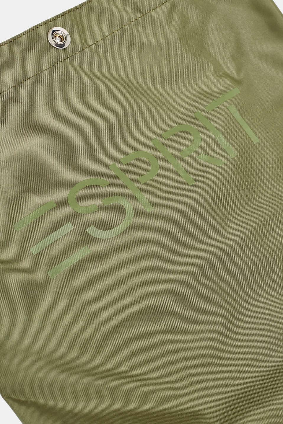 Nylon shopper with a logo print, KHAKI BEIGE, detail image number 3