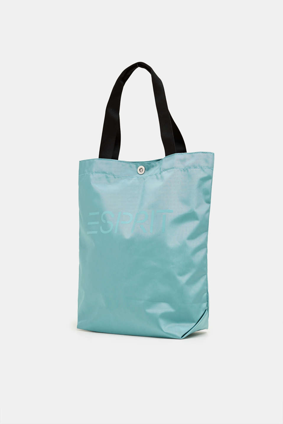 Nylon shopper with a logo print, AQUA GREEN, detail image number 2
