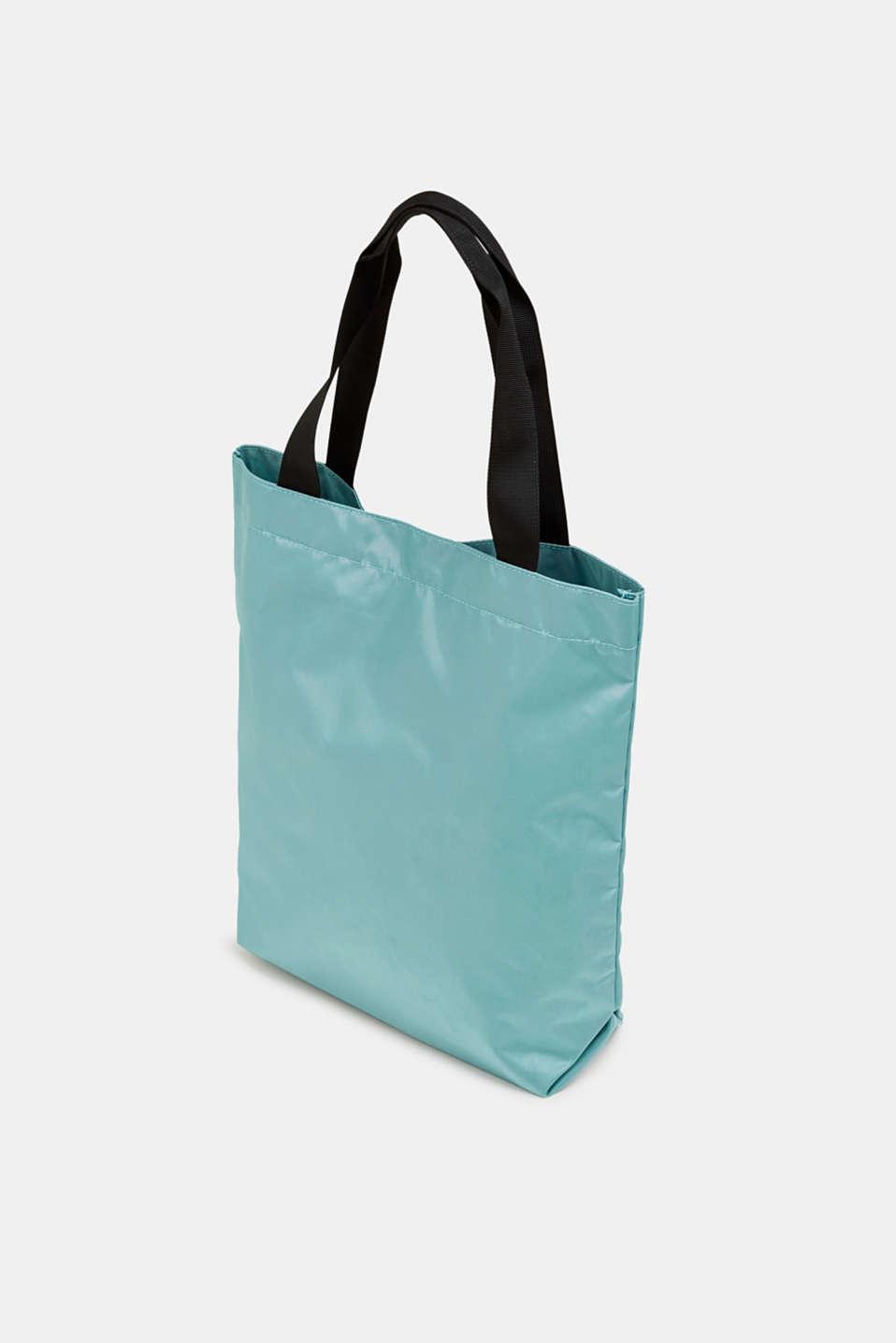 Nylon shopper with a logo print, AQUA GREEN, detail image number 5