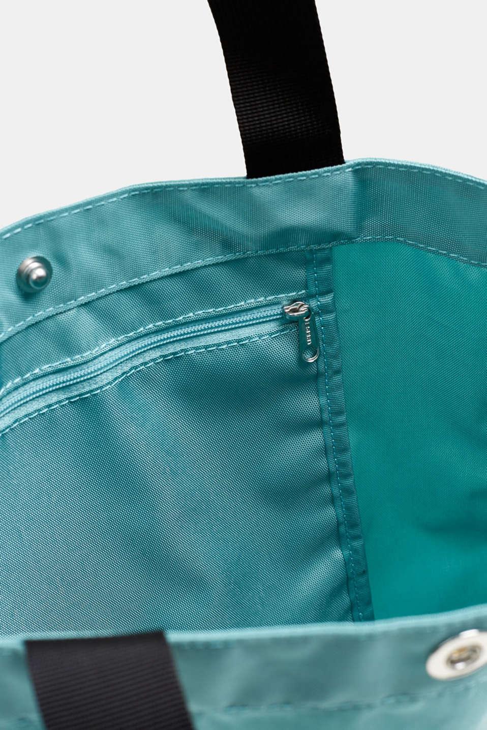 Nylon shopper with a logo print, AQUA GREEN, detail image number 4