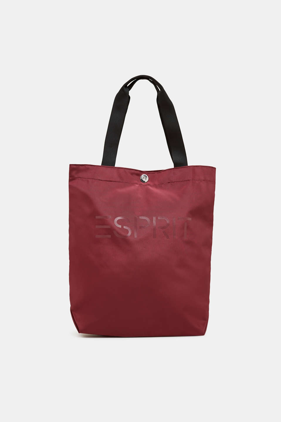 Nylon shopper with a logo print, BORDEAUX RED, detail image number 0