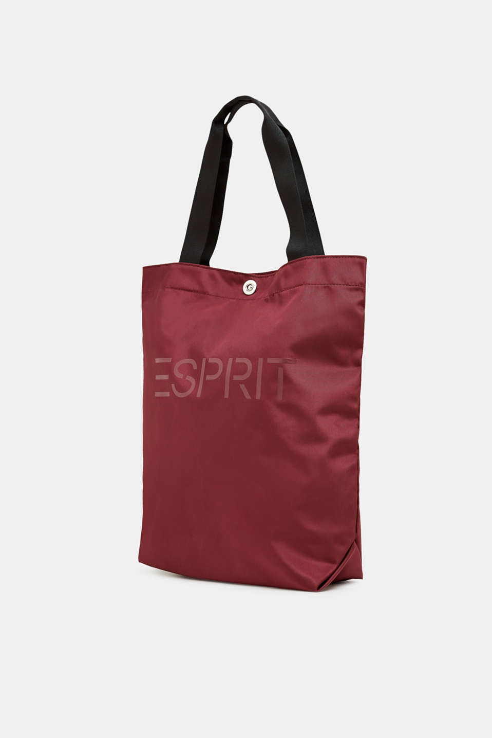 Nylon shopper with a logo print, BORDEAUX RED, detail image number 2