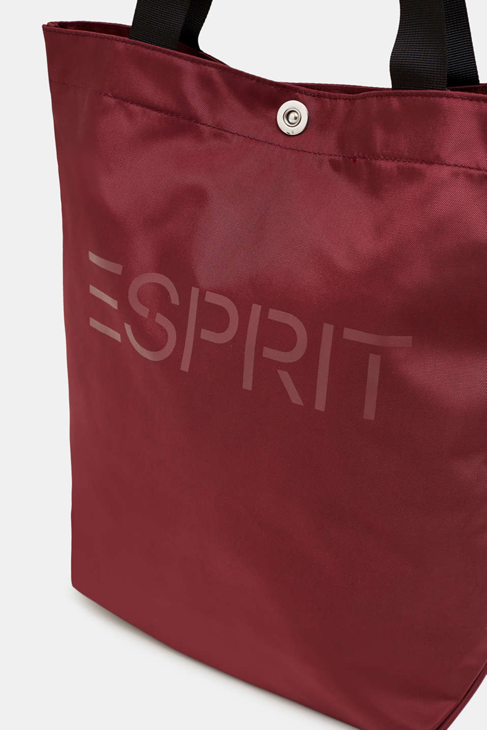 Nylon shopper with a logo print, BORDEAUX RED, detail image number 3